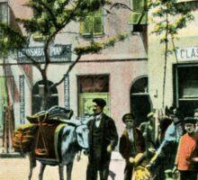 Vintage Gibraltar vegetables seller, street scene Sticker
