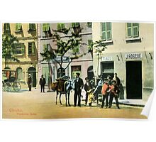 Vintage Gibraltar vegetables seller, street scene Poster