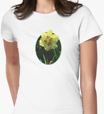 Yellow Double Daffodil Womens Fitted T-Shirt