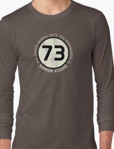 Sheldon Cooper 73 - Distressed Vanilla Cream Circle Chuck Norris Text Long Sleeve T-Shirt