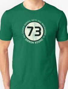 Sheldon Cooper 73 - Distressed Vanilla Cream Circle Chuck Norris Text Unisex T-Shirt