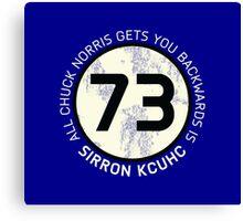 Sheldon Cooper 73 - Distressed Vanilla Cream Circle Chuck Norris Text Canvas Print