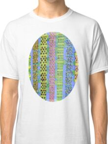 Blue Vertical Stripes and Ornaments  Classic T-Shirt