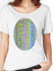 Blue Vertical Stripes and Ornaments  Women's Relaxed Fit T-Shirt