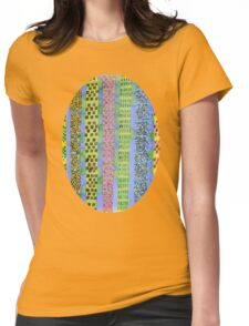 Blue Vertical Stripes and Ornaments  Womens Fitted T-Shirt