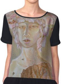 Rosewoman - Portrait In Crayon With Thorns For Teeth Chiffon Top