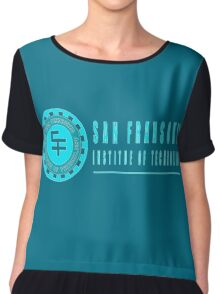 San Fransokyo institute of technology blue neon logo white outline, blue fill Chiffon Top