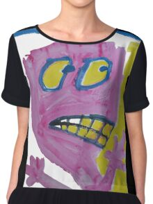 Toby - Pink Graphic Face Chiffon Top