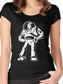 Buzz Lightyear Black and White Vector Women's Fitted Scoop T-Shirt
