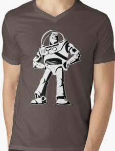 Buzz Lightyear Black and White Vector Mens V-Neck T-Shirt