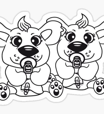 brothers siblings 2 sisters children baby child cute sweet diapers pacifier small young comic cartoon kawaii Sticker