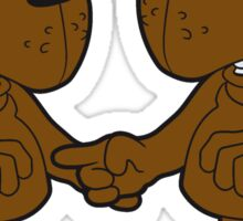 maliciously accuse team 2 friends contentious fight mad angry bear comic cartoon funny grim grizzly teddy bear Sticker