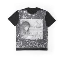 Vintage Grey Carousel Dreams Faux Silver Glitter Graphic T-Shirt
