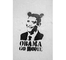 Graffiti Disney Obama go home on white wall Photographic Print