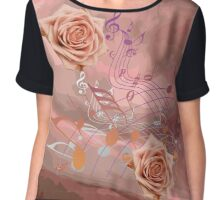 Soft Orange Music Notes & Roses Abstract Chiffon Top