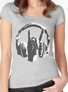 metal music fans headset dj Women's Fitted Scoop T-Shirt