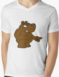 maliciously accuse angry angry bear comic cartoon funny forefinger forefinger grim grizzly teddy bear Mens V-Neck T-Shirt