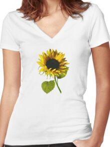 Sunflower Shadow and Light Women's Fitted V-Neck T-Shirt