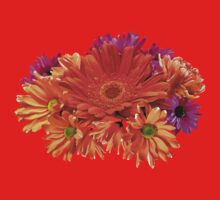 Mixed Bouquet of Gerbera Daisies and Mums Kids Tee