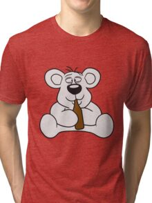 drunk thirsty cola drink alcohol party bottle beer drinking sweet little cute polar teddy bear sitting funny dick Tri-blend T-Shirt