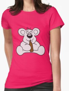 drunk thirsty cola drink alcohol party bottle beer drinking sweet little cute polar teddy bear sitting funny dick Womens Fitted T-Shirt