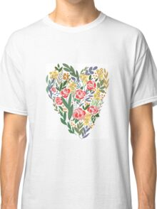 Heart in flowers and leaves Classic T-Shirt