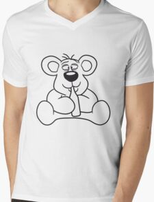 drunk thirsty cola drink alcohol party bottle beer drinking sweet little cute polar teddy bear sitting funny dick Mens V-Neck T-Shirt