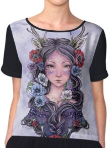 Dark Faun Girl with Flowers Chiffon Top