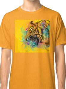 Angry Tiger Colorful Illustration Yellow Wild Animal Classic T-Shirt