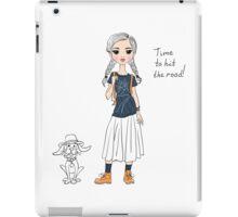 Lovely girl traveler with dog iPad Case/Skin