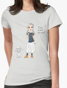 Lovely girl traveler with dog Womens Fitted T-Shirt