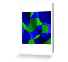 ABSTRACT CURVES-1 (Blues & Greens-3)-(9000 x 9000 px) Greeting Card