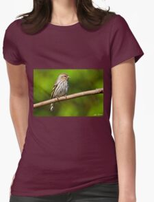 Pine Siskin Perched on a Branch Womens Fitted T-Shirt