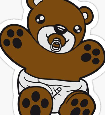 baby pacifier diaper child sweet cute small comic cartoon teddy bear Sticker
