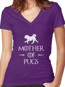 Mother of Pugs - White Women's Fitted V-Neck T-Shirt