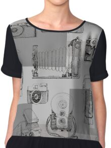 Vintage Camera Collection Chiffon Top