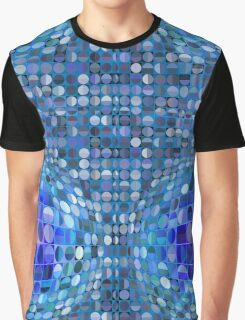 Optical Illusion Sphere - Blue Graphic T-Shirt