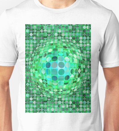 Optical Illusion Sphere - Green Unisex T-Shirt