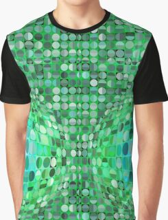 Optical Illusion Sphere - Green Graphic T-Shirt