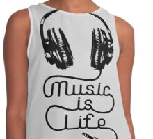 Music is Life Headphones Contrast Tank