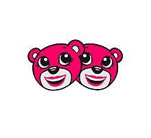 2 girls team girlfriends face head girl woman girl pink female sweet little comic cartoon teddy bear baby Photographic Print