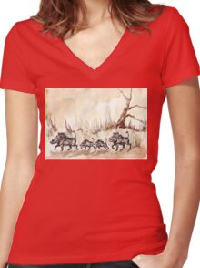 An African scene Women's Fitted V-Neck T-Shirt