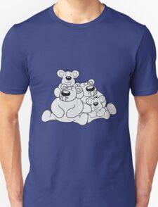 2 children siblings papa mama, son, daughter, family team polar bear sitting sweet cute comic cartoon teddy bear dick big Unisex T-Shirt