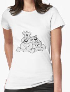 2 children siblings papa mama, son, daughter, family team polar bear sitting sweet cute comic cartoon teddy bear dick big Womens Fitted T-Shirt
