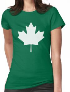 White maple leaf Womens Fitted T-Shirt