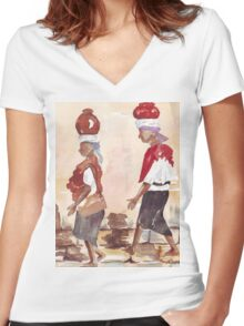 Downtown shopping Women's Fitted V-Neck T-Shirt
