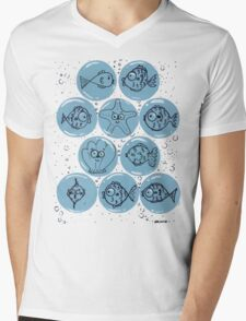 Cute Sea Animals and Funny Fish Floating in Bubbles Mens V-Neck T-Shirt