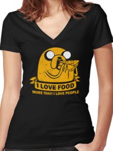 Food I love the Most Women's Fitted V-Neck T-Shirt