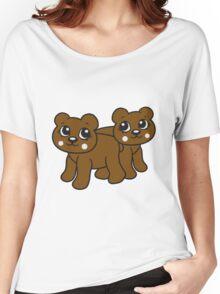 2 girlfriends team few female girl woman walk sweet cute comic cartoon teddy bear Women's Relaxed Fit T-Shirt