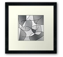ABSTRACT CURVES-1 (Greys & White-3)-(9000 x 9000 px) Framed Print